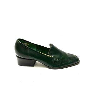 Vintage 1970s dark green leather loafer heels